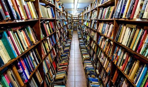 Aisle full of books