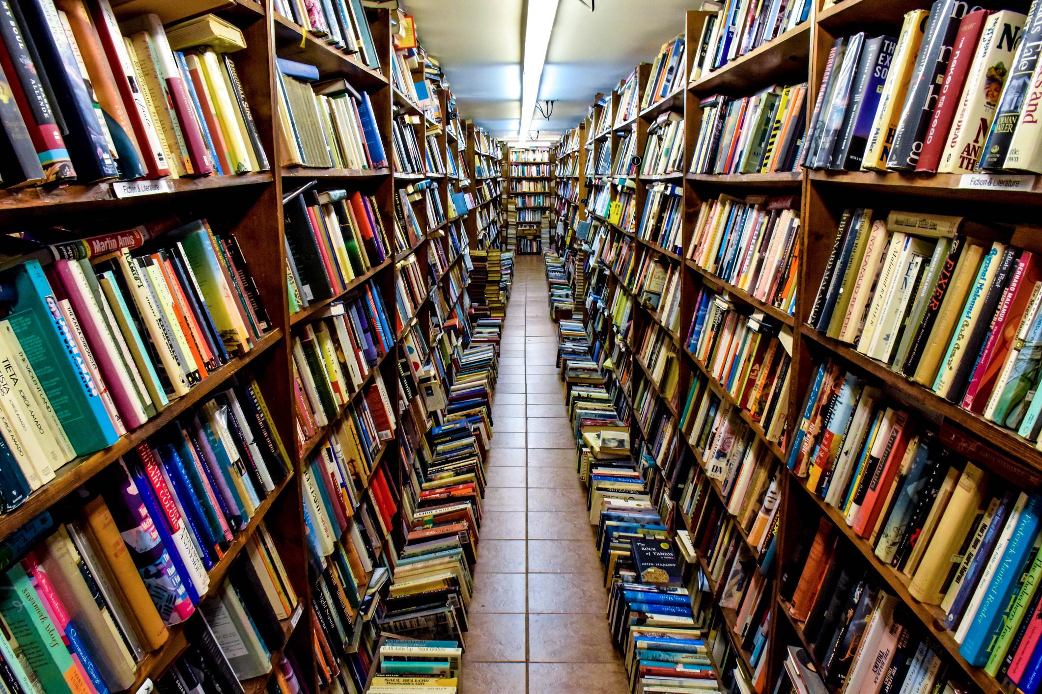 Aisle full of books