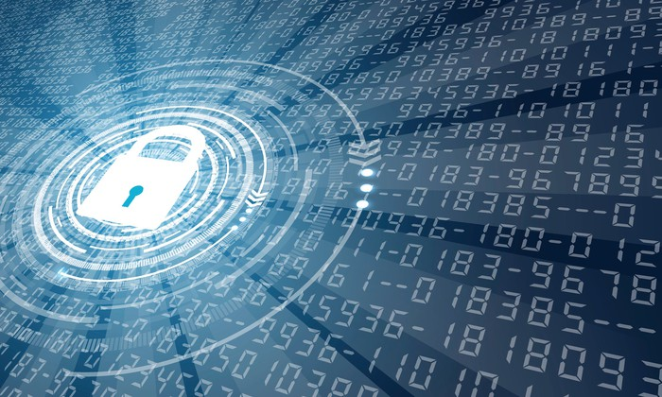 Digital padlock overlaying random numbers, cybersecurity image