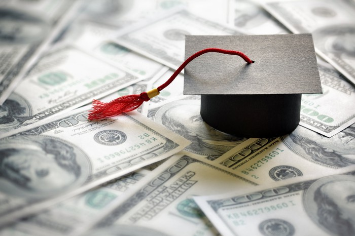 A tiny graduation cap with a red tassel sits on top of several spread-out $100 bills.