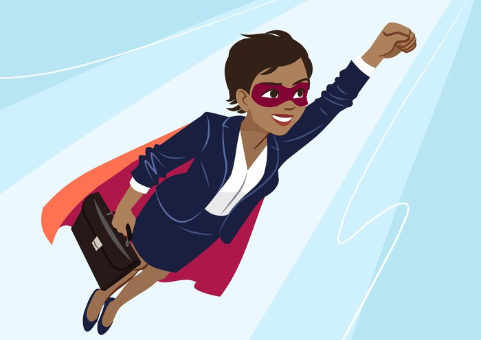 Cartoon of a woman in a mask and cape who is holding a briefcase and flying through the air.