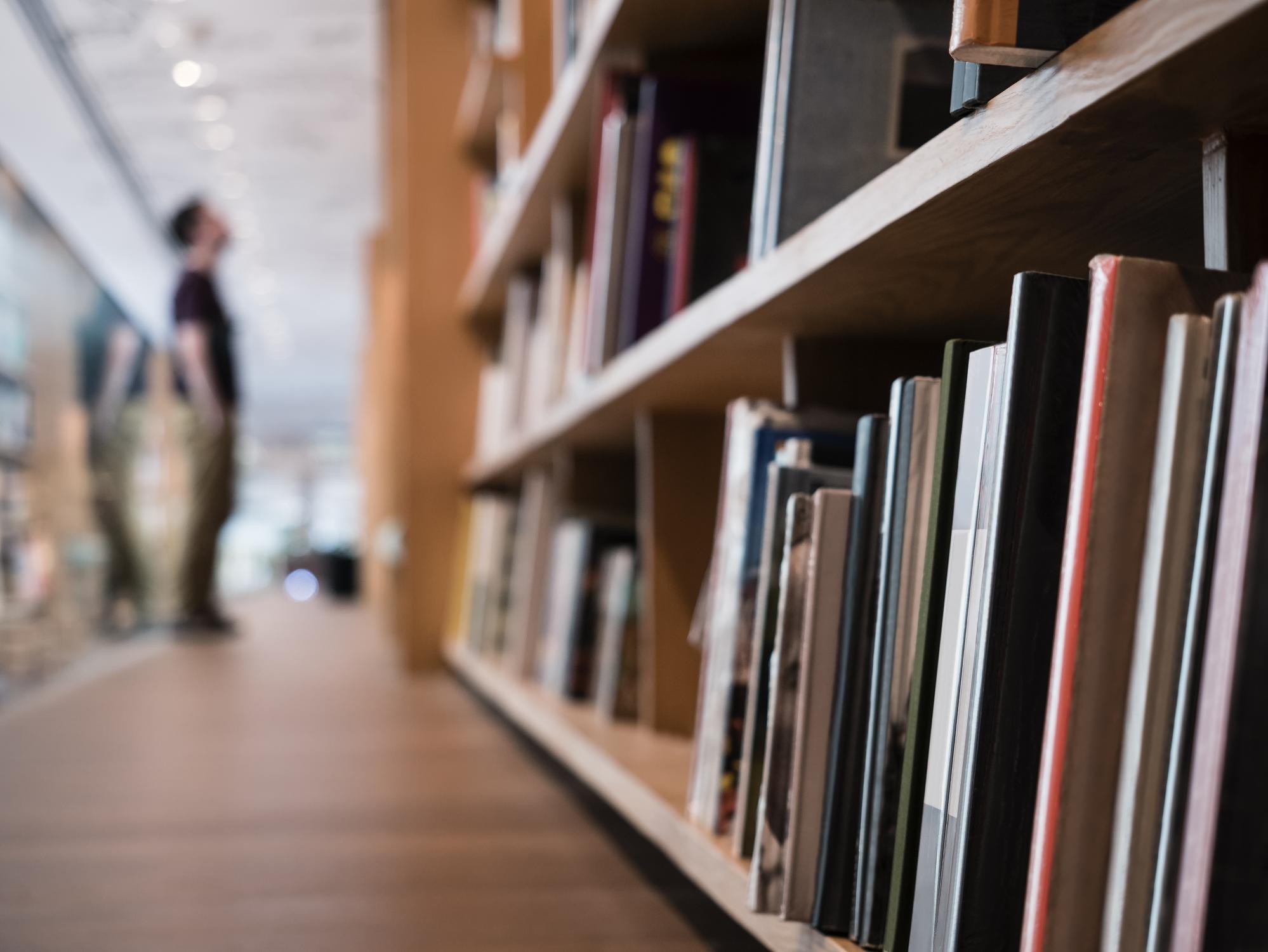 Close-up of books on a shelf in a bookstore