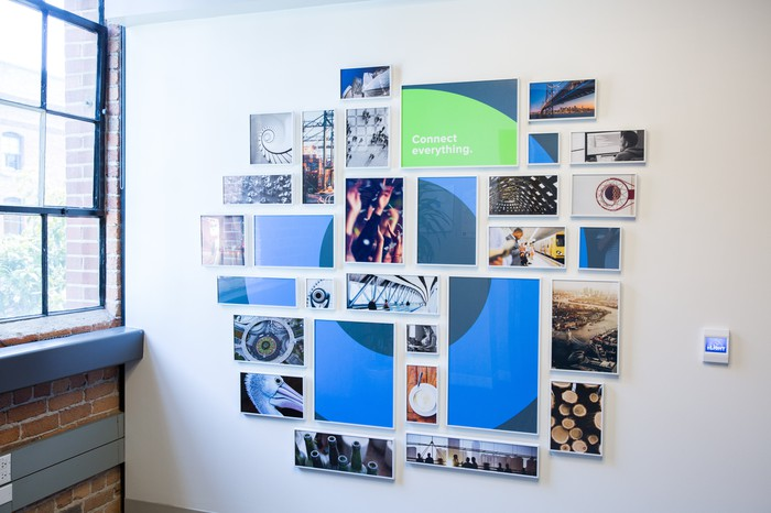 Art on a wall inside Okta's offices