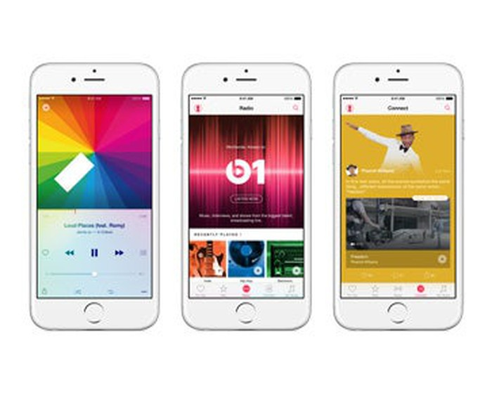 Apple Music music interface shown on three iPhones