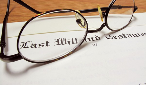 last will and testament with eyeglasses