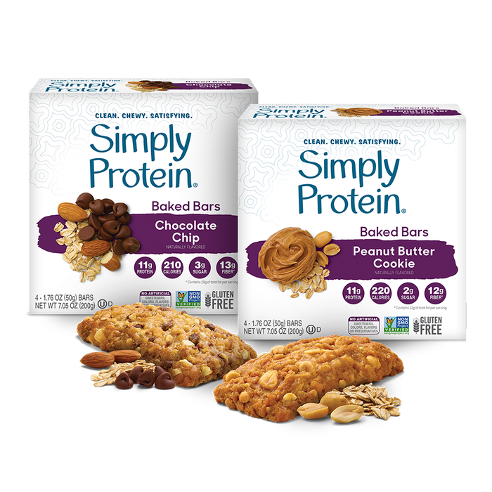 SimplyProtein brand baked snack bar packages on a white background.