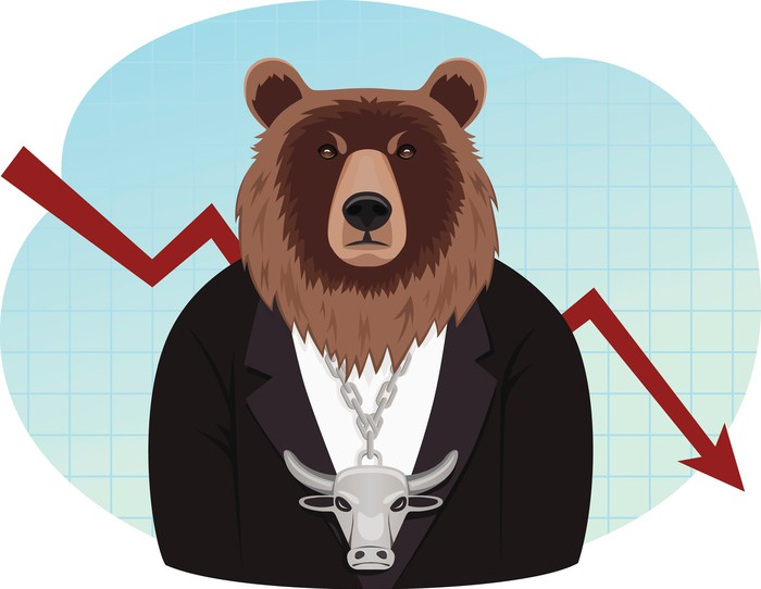Drawing of a bear wearing a shirt, jacket, and a bull's head medallion. A red arrow in the background points down.