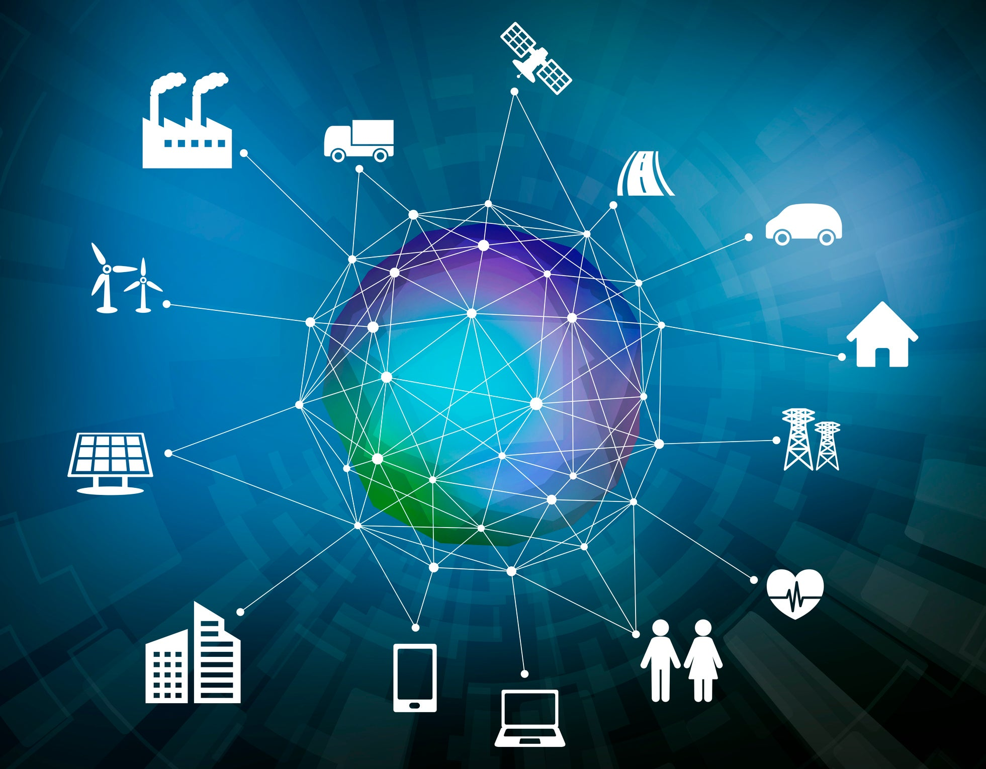 Earth in center surrounded by icons of various interconnected things, such as a car, a house, a factory, people, etc. -- concept for Internet of Things.
