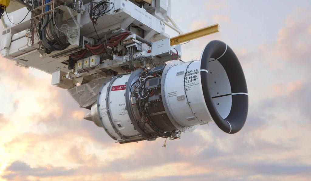 A CFM International LEAP engine in testing.