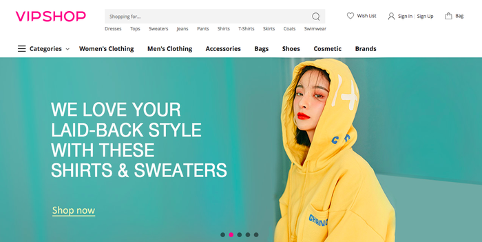 Vipshop homepage for U.S. shoppers.