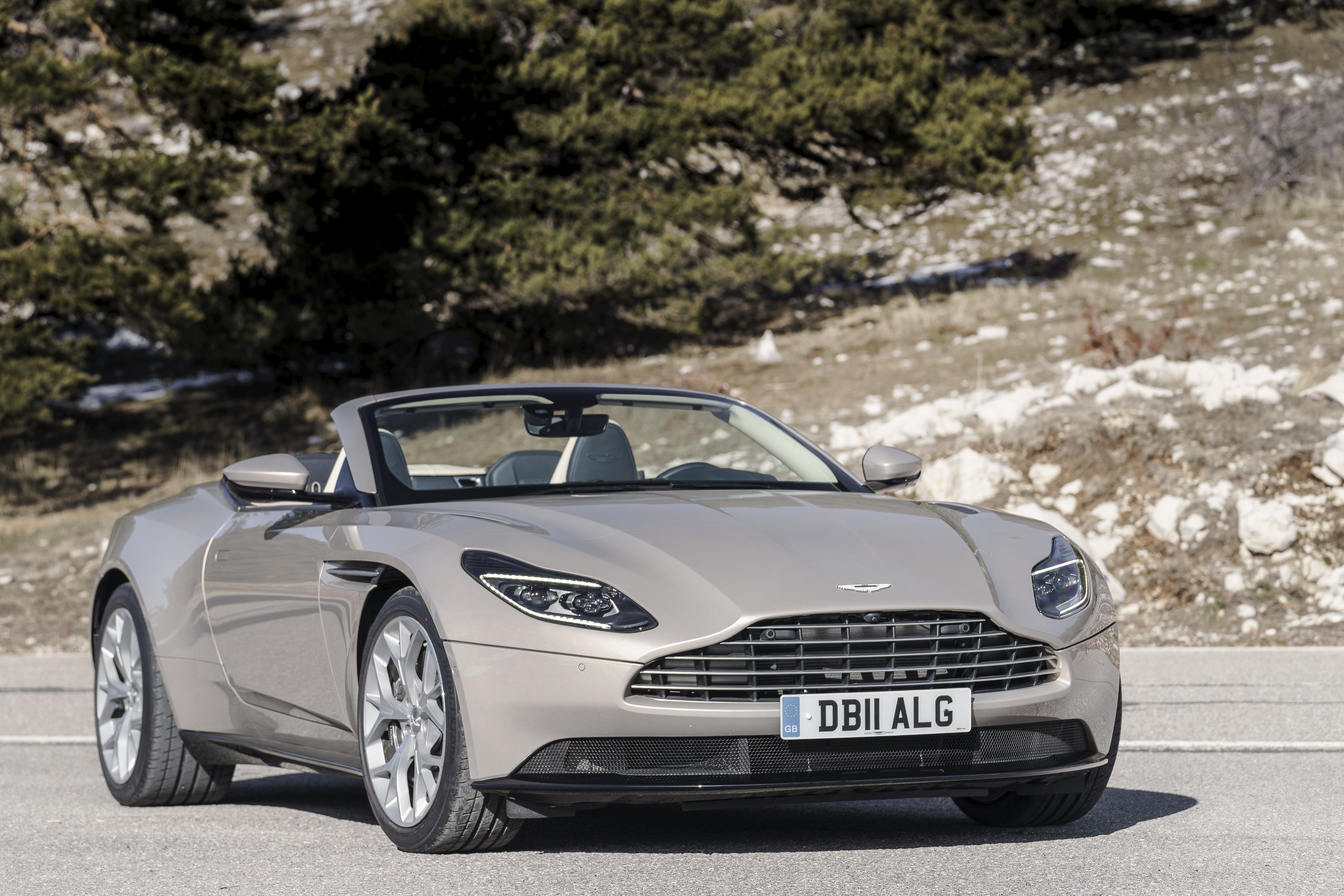 An Aston Martin DB11 Volante, a sleek high-performance convertible.