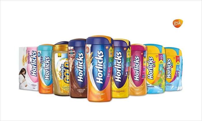 A lineup of Horlicks cans.