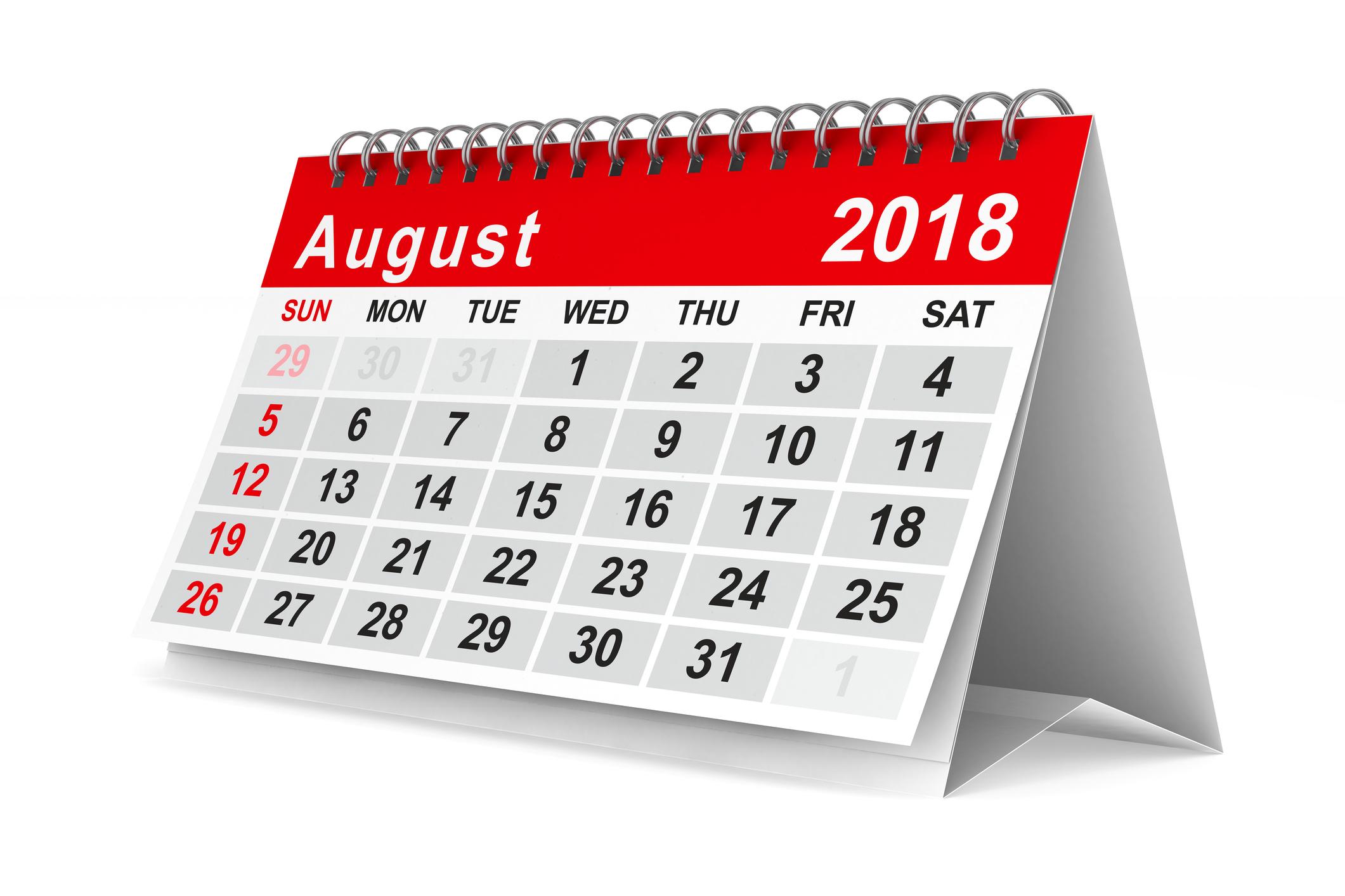 An August 2018 calendar