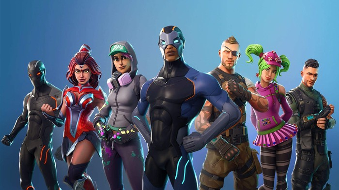 Assorted action figures based on Fortnite: Battle Royal.
