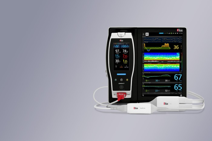 Masimo's Root monitoring system against a gray background