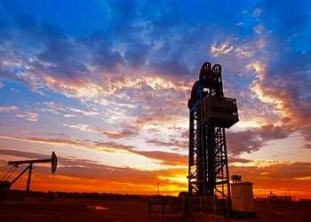 oil rig and oil pump sunset
