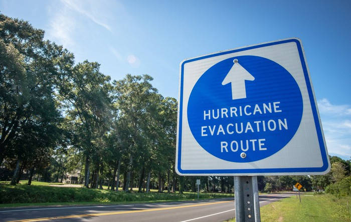 A Hurricane Evacuation Route Sign.