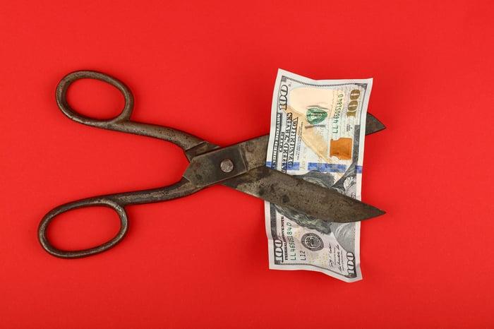 Scissors cutting a $100 bill.