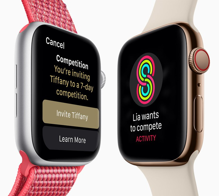 Two Apple Watch Series 4 models next to each other
