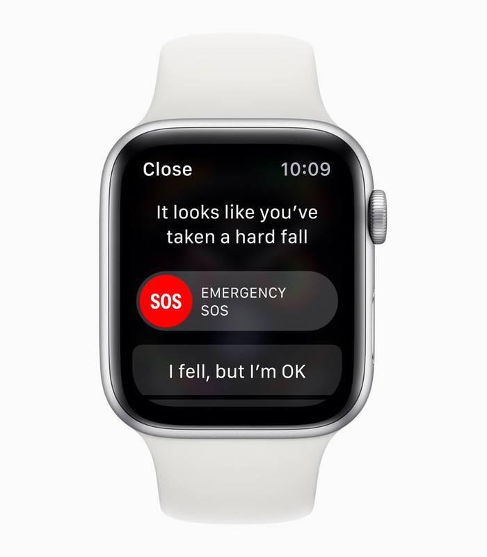 "Apple Watch with a notification ""It looks like you've taken a hard fall"" and response options ""Emergency SOS"" or ""I fell, but I'm OK."""