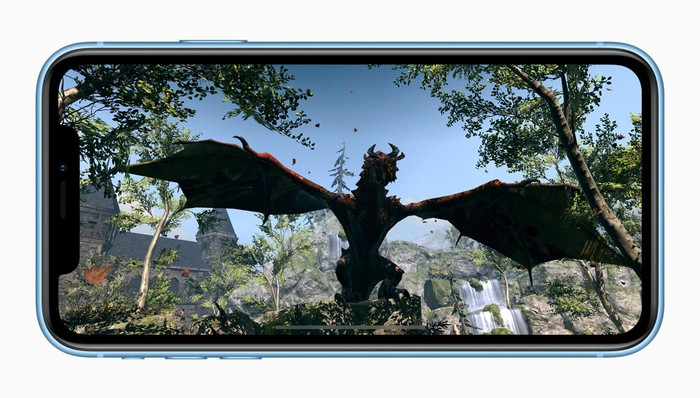A blue iPhone Xr displaying a 3D game.