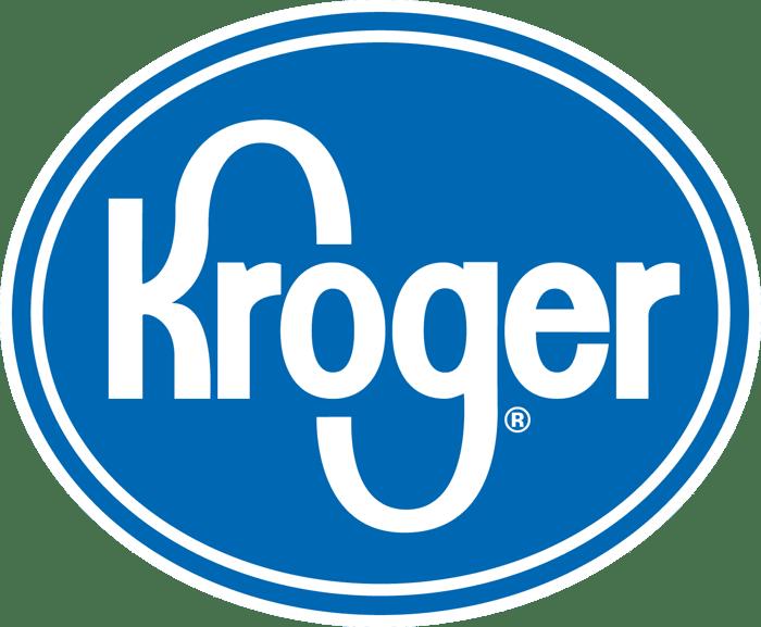 Blue and white Kroger logo.