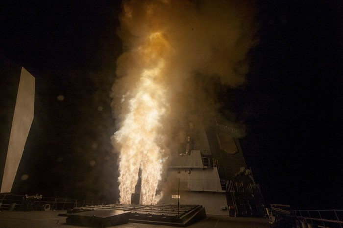 Interceptor missile launching off the deck of a Japanese destroyer
