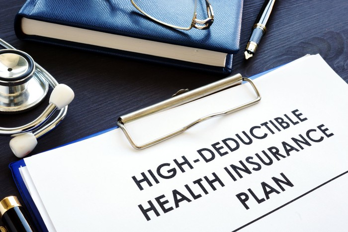 Words high deductible health insurance plan written on clipboard