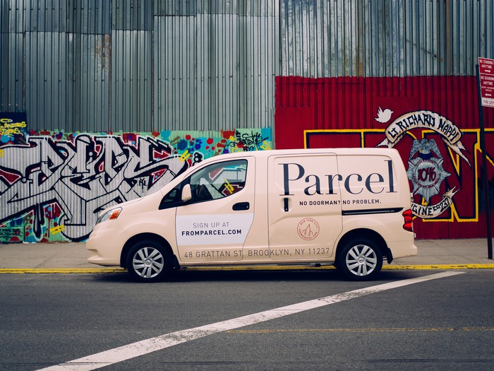 A Parcel van parked on the street.