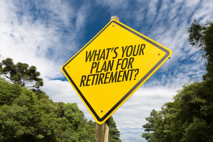 "Yellow road sign that asks, ""What's your plan for retirement?"""