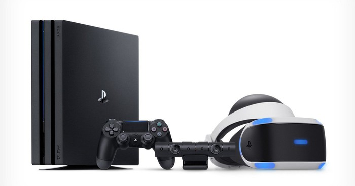 A Sony PS4 and PlayStation VR headset.