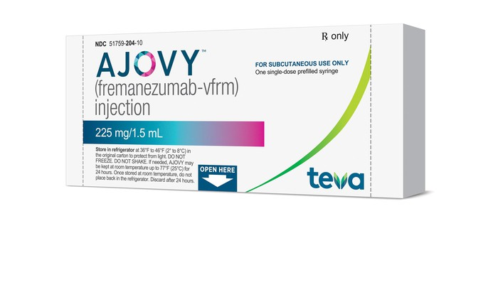 Package of Ajovy from Teva for the prevention of migraine headaches.
