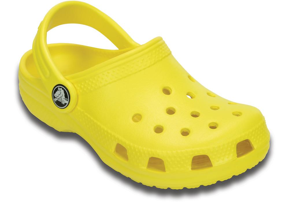 Crocs classic resin shoe in yellow.
