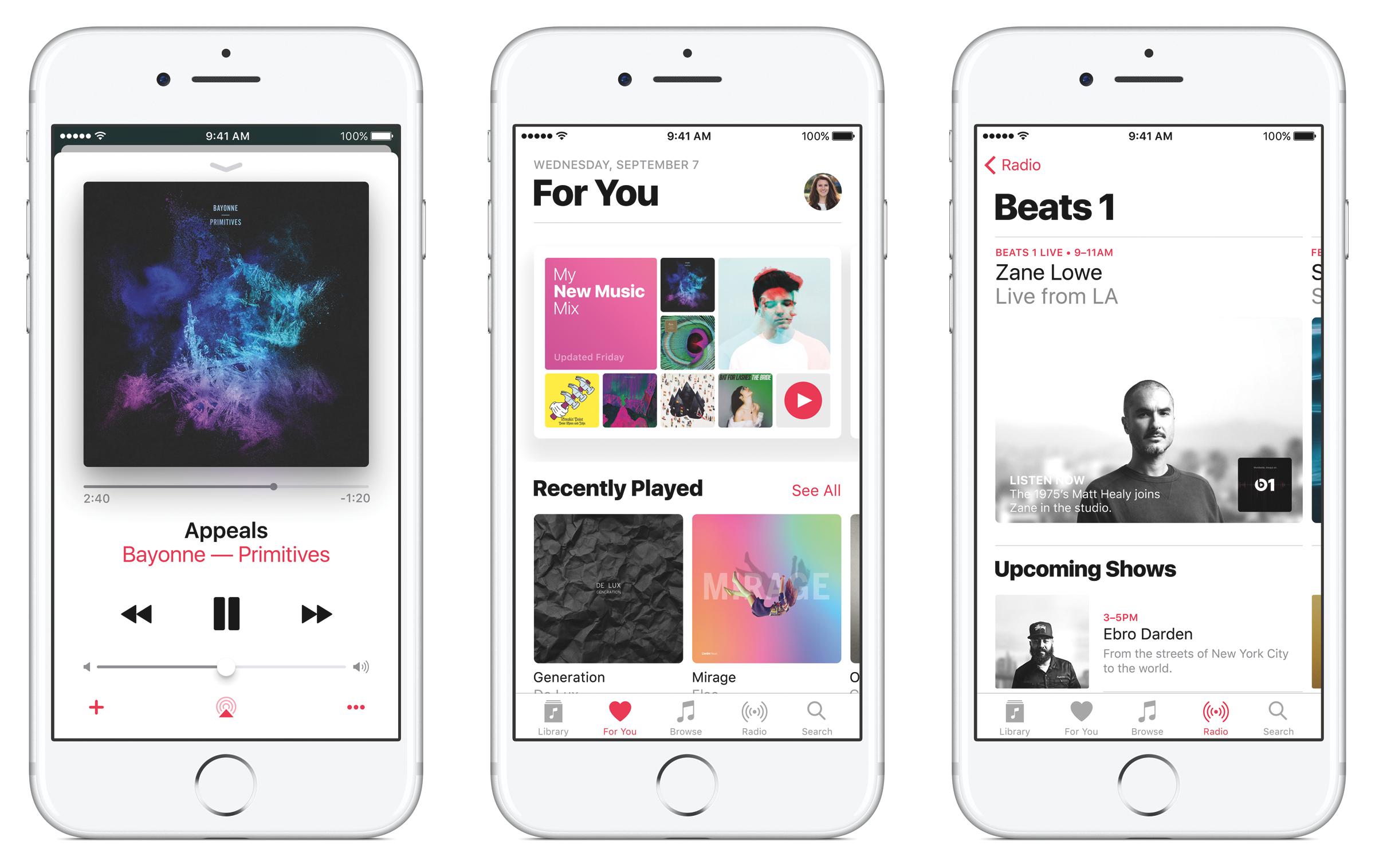 Apple Music interface shown on three iPhones