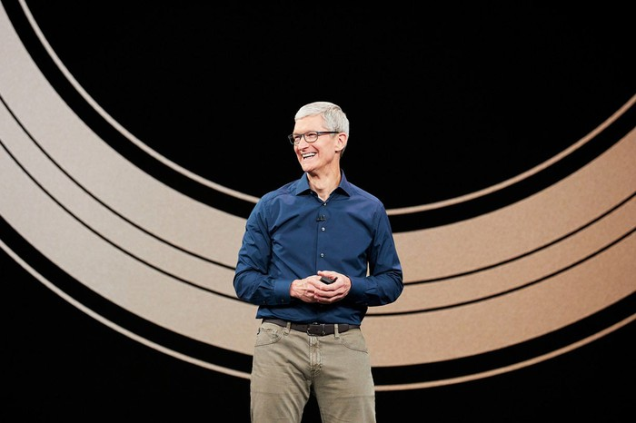 Apple CEO Tim Cook at the company's recent product launch event.