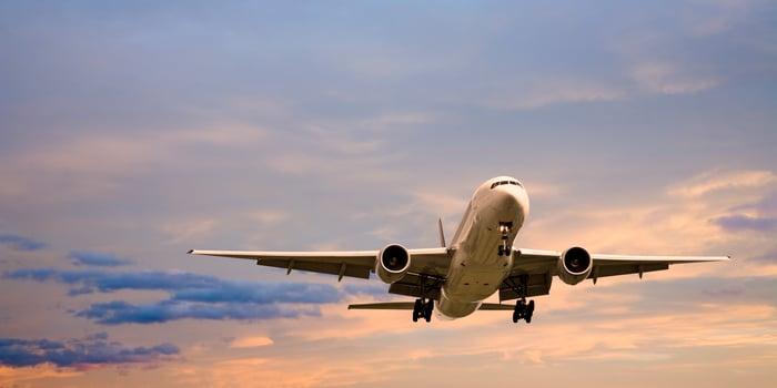A Boeing 777 in flight.