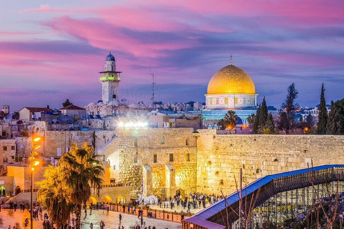 Western Wall and Temple Mount in old town Jerusalem.