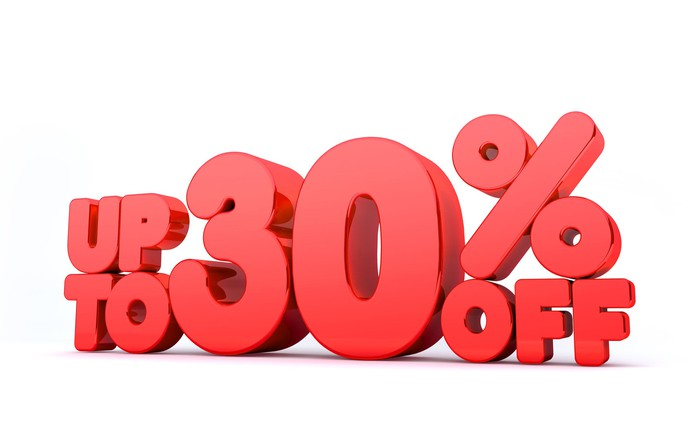 Up to 30% off spelled out in big red letters