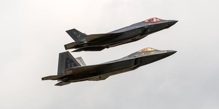 F-22 and F-35 in flight