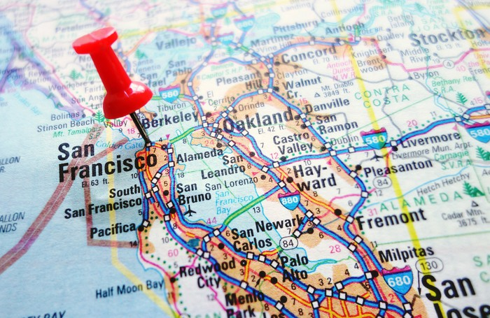 A map of California with a pin stuck in San Francisco.