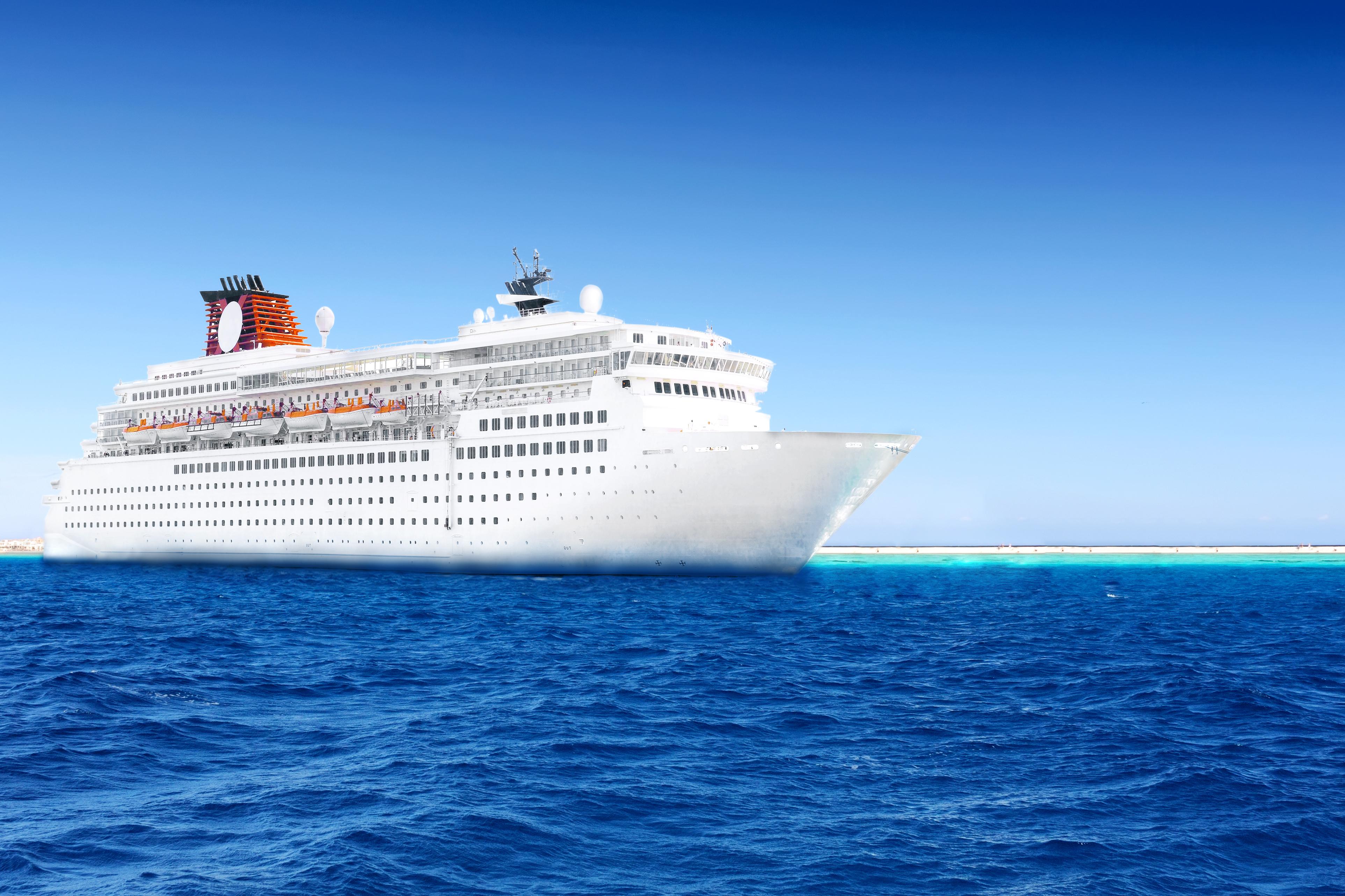A cruise ship at sea.