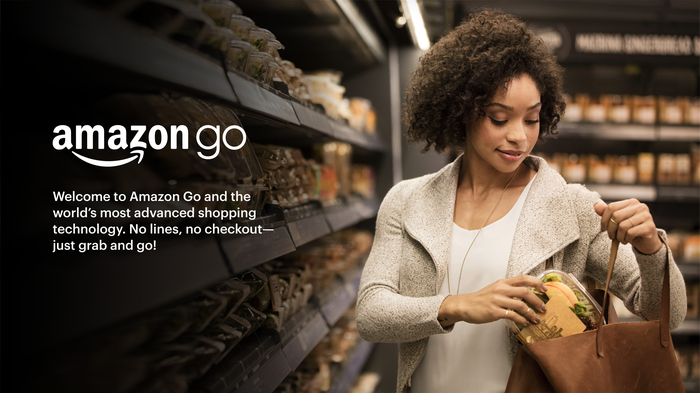 Woman in an Amazon Go store