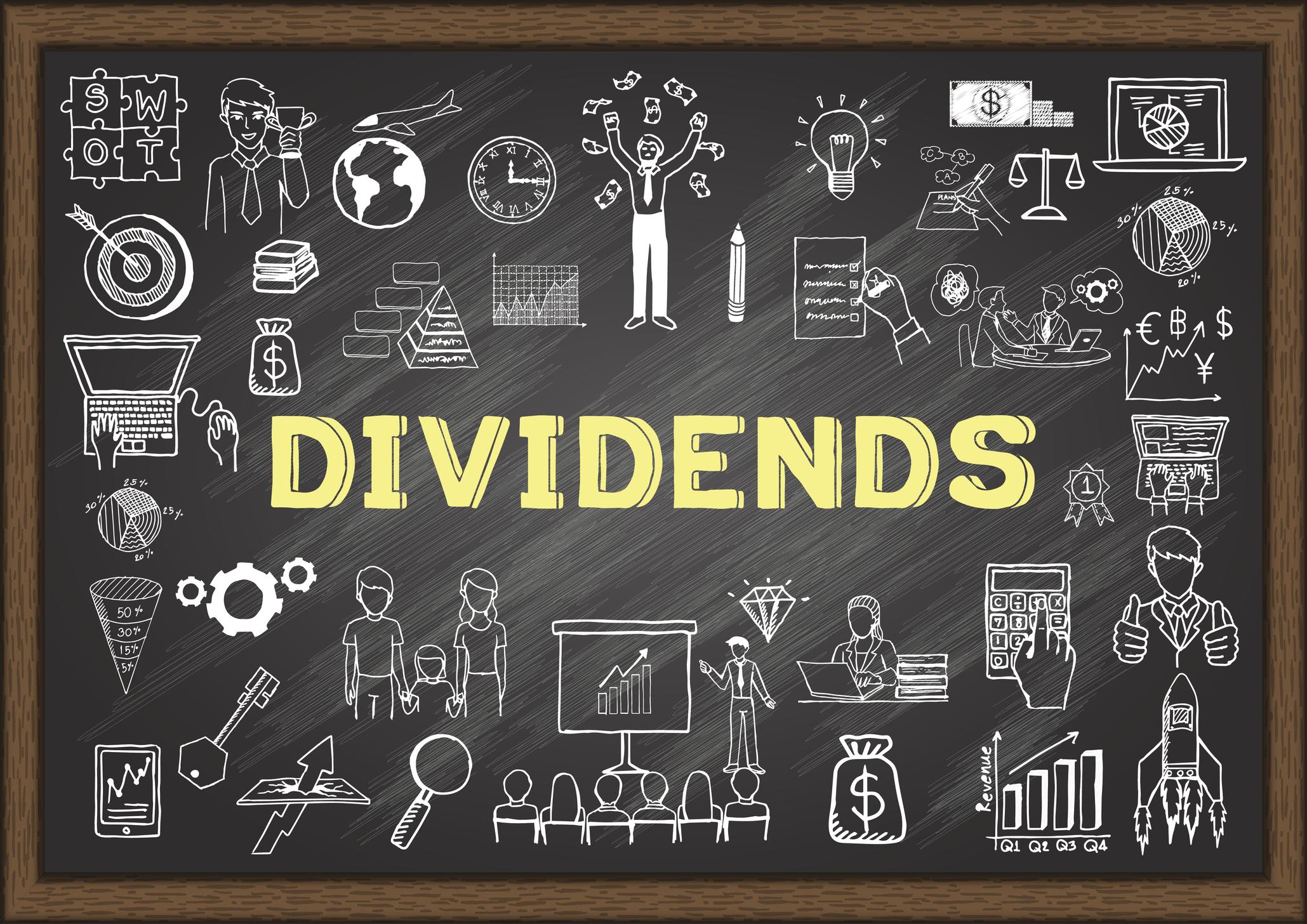The word DIVIDENDS written on a blackboard.