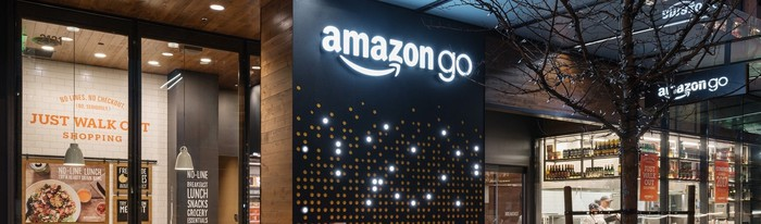 A view of the inside of an Amazon Go store