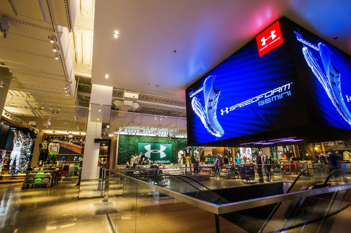 Interior of Under Armour's Brand House store in Chicago.
