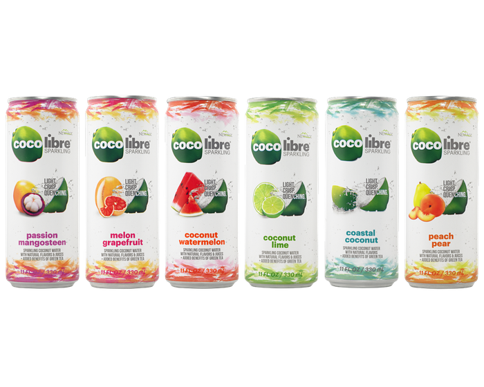Coco Libre line of coconut sparkling water in cans.