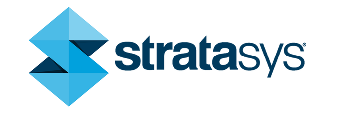 """Stratasys' logo -- a vertical blue arrow with points up and down, which also resembles an """"S,"""" followed by the company's name."""