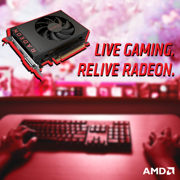 An AMD GPU with gamer playing on a computer in the background.