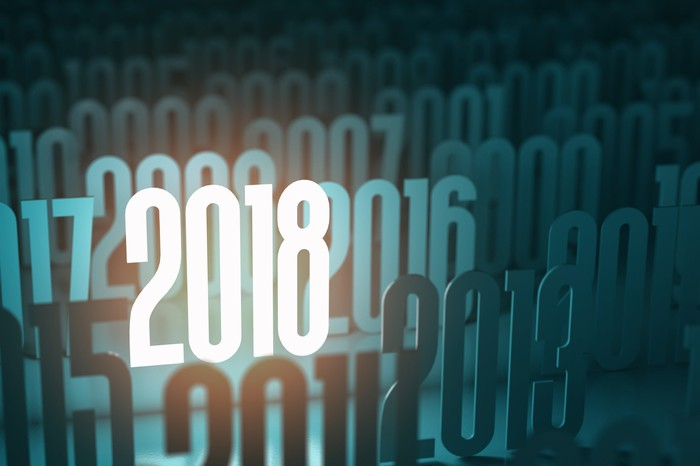 Years in 21st century with a light shining on 2018