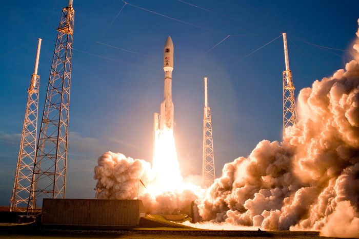 An Atlas V rocket launches from Cape Canaveral.